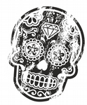 Distressed Aged Mexican Day Of The Dead SUGAR SKULL Black & White External Vinyl Car Sticker 120x90mm
